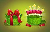 Green gift box with bonus