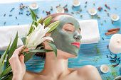 Woman with spa mask
