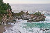 Waterfall Onto The Ocean Cove