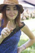 Spider and girl's finger