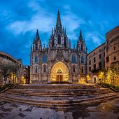 Cathedral Of The Holy Cross And Saint Eulalia In The Morning, Barcelona, Catalonia