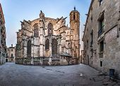 Panorama Of Cathedral Of The Holy Cross And Saint Eulalia, View From Freneria Street, Barcelona, Cat