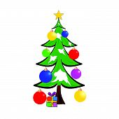 Christmas Tree With Presents Color Vector