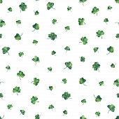Seamless watercolor background with green clover leaves for Saint Patrick day. Vector illustration.