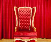 picture of throne  - Red royal throne and red curtain behind - JPG