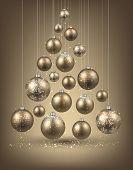 Christmas tree with golden christmas balls. Vector illustration.