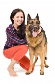 Beautiful woman and German Shepherd