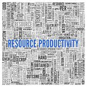 Close up Blue RESOURCE PRODUCTIVITY Text at the Center of Word Tag Cloud on White Background.