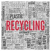 Close up Red RECYCLING Text at the Center of Word Tag Cloud on White Background.