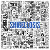 Close up Blue SHIGELLOSIS Text at the Center of Word Tag Cloud on White Background.