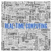 Close up Blue REAL-TIME COMPUTING Text at the Center of Word Tag Cloud on White Background.
