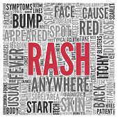 Close up Red RASH Text at the Center of Word Tag Cloud on White Background.