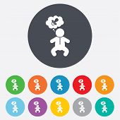 stock photo of nipple  - Baby infant think about pacifier nipple sign icon - JPG