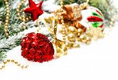 Christmas Decoration With Red Baubles Und Golden Ornament