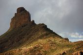 Roque Bentayga landmark of Gran Canaria at sunset light, Canary islands, Spain