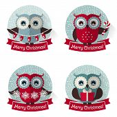 Christmas Labels With Owls And Ribbons. Vector Set.