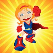stock photo of superwoman  - Super hero Girl with Yellow Background - JPG