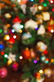 Abstract blurred photography christmas tree - holiday background