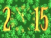 Happy new year greeting 2015 - clock and snowflakes