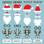 Christmas Photo Booth and scrapbooking vector set Santa, reindeer.