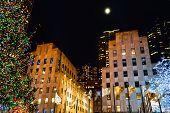 Moon Over Rockefeller Center