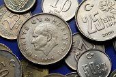 Coins of Turkey. Mustafa Kemal Ataturk depicted in the Turkish lira coins.