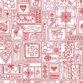 Red seamless Christmas and New Year pattern