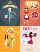 Set Of Sale Posters In Retro Style. Girl Or Woman Holding Bags. Big Sale