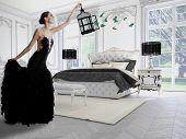 Beautiful girl in a classic room