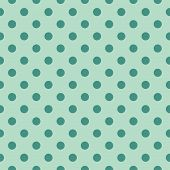 Tile vector pattern with polka dots on mint green background