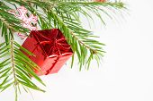 Christmas Tree Branch And Red Box Decoration