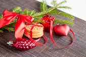 Christmas Background With Cookies And Decorations