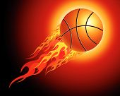Fiery basketball ball