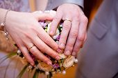 The Palms Of The Bride And Groom. Wedding Rings. The Bride's Bouquet
