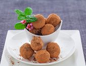 pic of truffle  - Vegan raw chocolate and maca truffles covered in cocoa - JPG