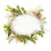 Christmas Watercolor New Year card with Sprig of Fir Trees and Pine cones