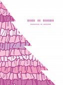 Vector pink ruffle fabric stripes Christmas tree silhouette pattern frame card template