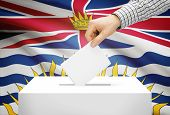 Voting Concept - Ballot Box With National Flag On Background - British Columbia
