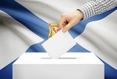 Voting Concept - Ballot Box With National Flag On Background - Nova Scotia