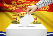 Voting Concept - Ballot Box With National Flag On Background - New Brunswick