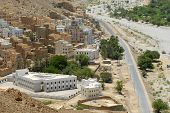 View to the traditional colorful buildings in Wadi Doan, Yemen.