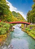 Red sacred bridge Shinkyo in Nikko, Japan.