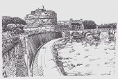 drawing  cityscape with fortress of Sant'Angelo in Rome