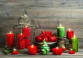 Christmas Decoration With Burning Candles. Nostalgic Home Interior