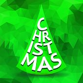 abstract green christmas tree by letters