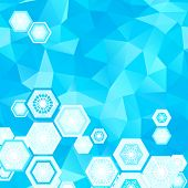 abstract geometric blue background with snowflakers