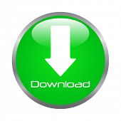 Green Download Button Vector Illustration