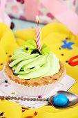 Cute fragment of birthday table close-up