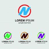 stock photo of letter n  - Letter N logo design template letter N icon - JPG