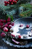 image of christmas meal  - Christmas table place setting with christmas pine - JPG
